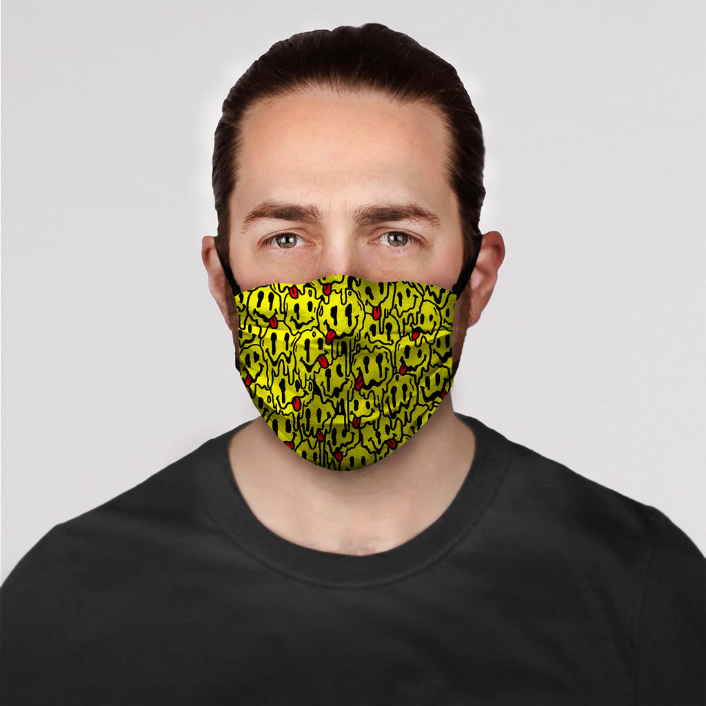 Trippy Yellow Emoji Face Mask
