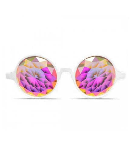 Image of GloFX * White Kaleidoscope Glasses – Rainbow Fractal – Flat Back