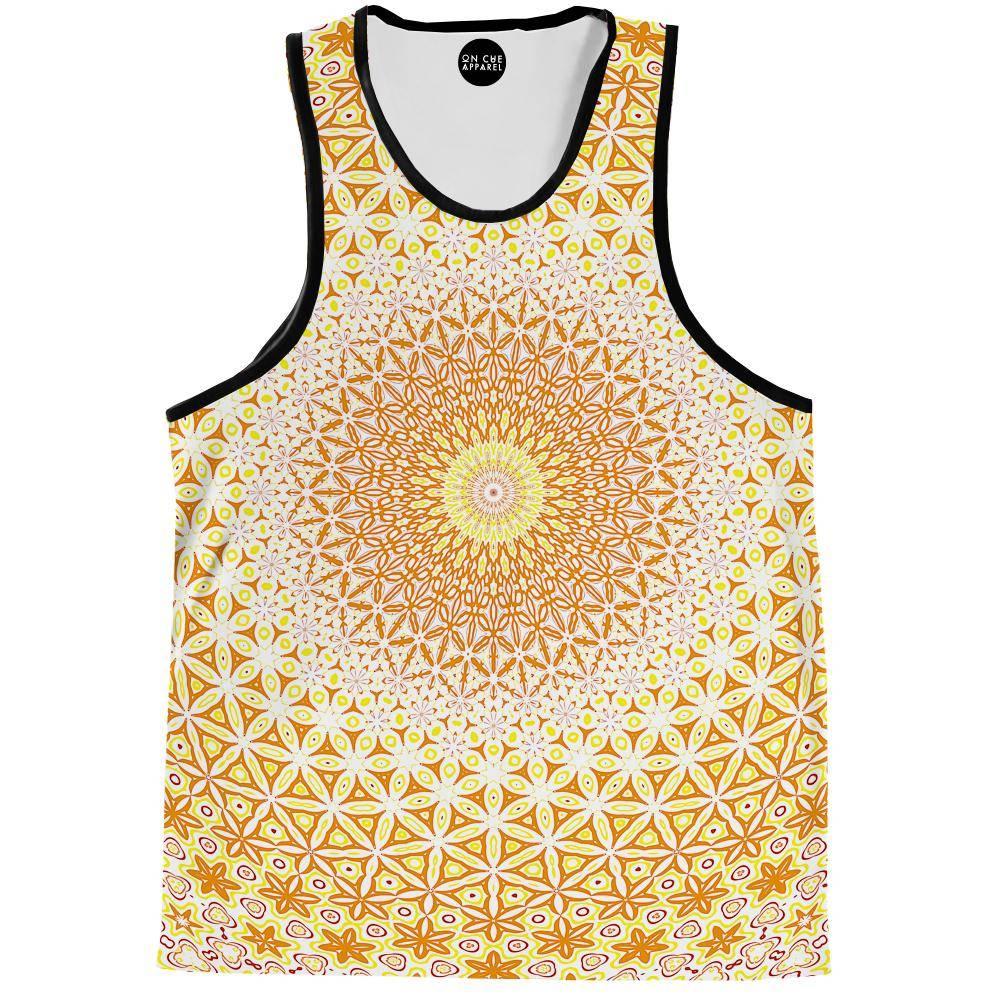 Abstract Flower Yellow Tank Top
