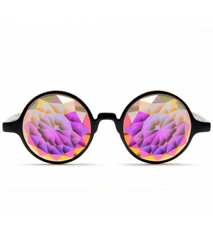 GloFX * Black Kaleidoscope Glasses – Rainbow Fractal – Flat Back