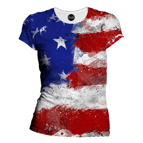 American Flag Lines Womens T-Shirt