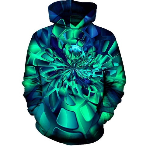 Image of Green Fractal Womens Hoodie
