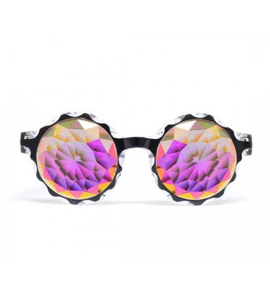GloFX * Crown Black Kaleidoscope Glasses – Rainbow Fractal – Flat Back