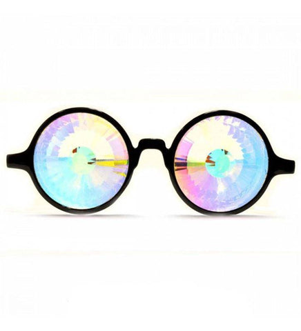 Image of GloFX * Black Kaleidoscope Glasses- Rainbow Wormhole
