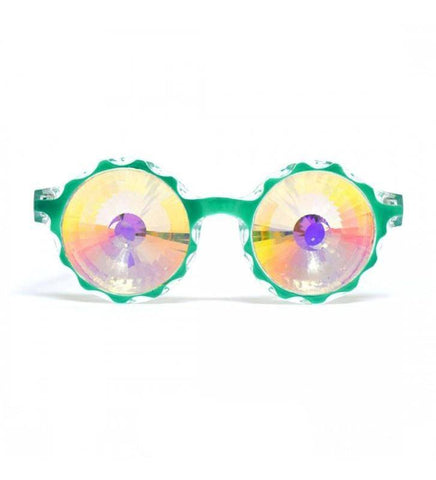 GloFX * Crown GreenKaleidoscope Glasses- Rainbow Wormhole LE