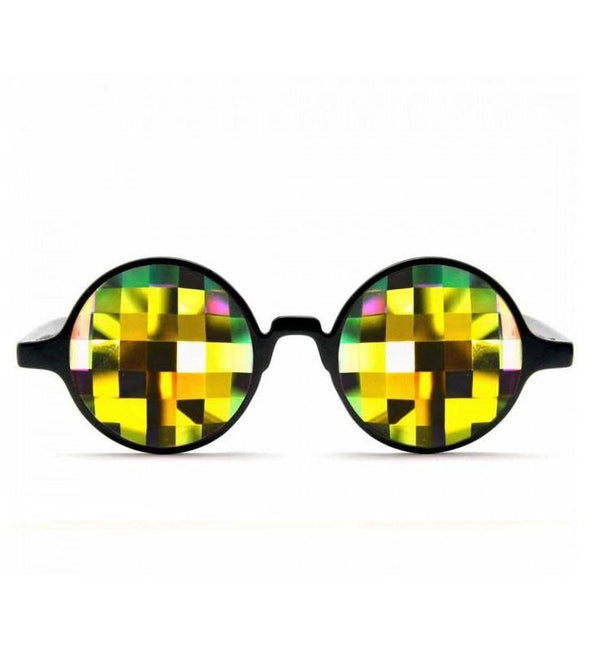 GloFX * Black Kaleidoscope Glasses – Rainbow Bug Eye – Flat Back