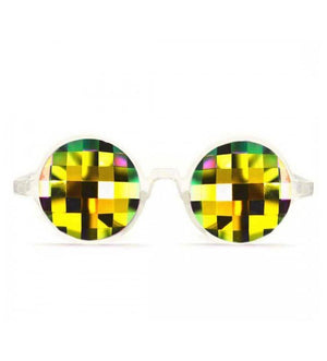 GloFX * Clear Kaleidoscope Glasses – Rainbow Bug Eye – Flat Back