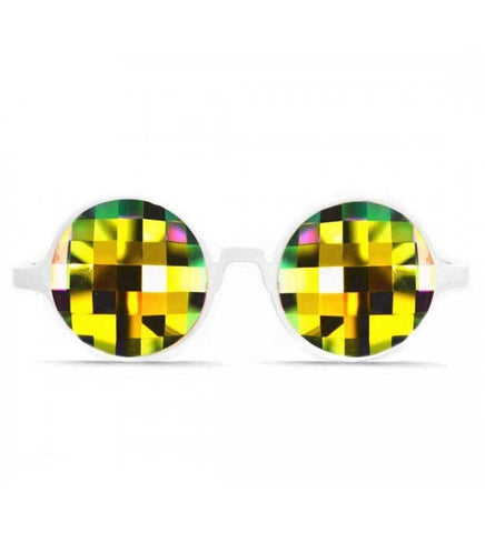 GloFX * White Kaleidoscope Glasses – Rainbow Bug Eye – Flat Back