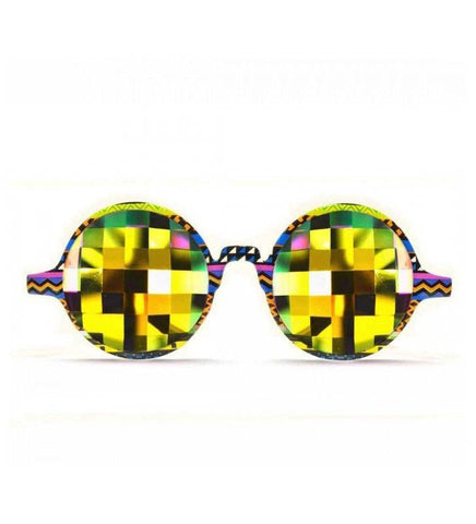 GloFX * Tribal Kaleidoscope Glasses – Rainbow Bug Eye – Flat Back