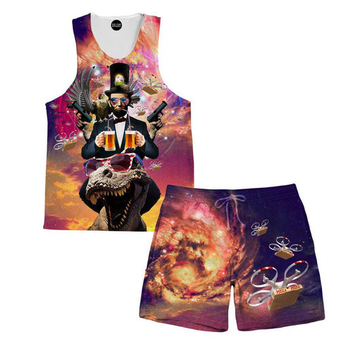 Image of Abraham Lincoln Merica Tank and Shorts Rave Outfit