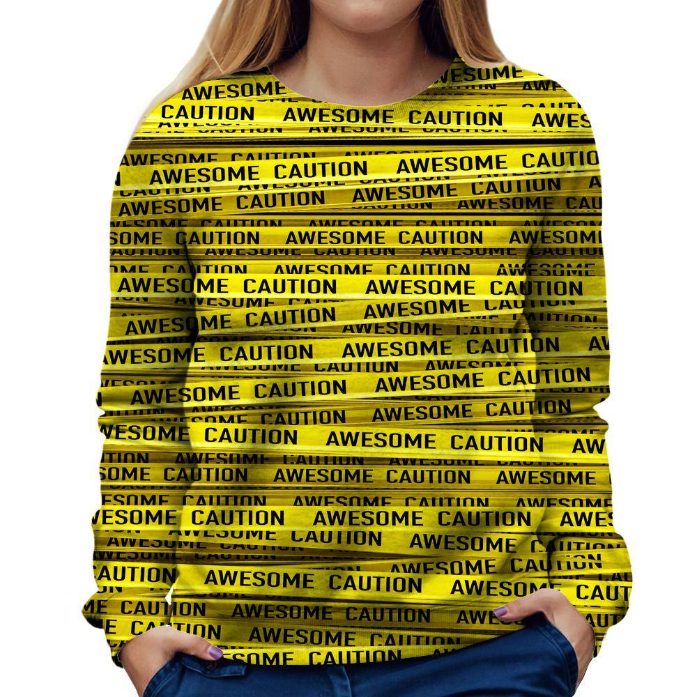 Caution Womens Sweatshirt