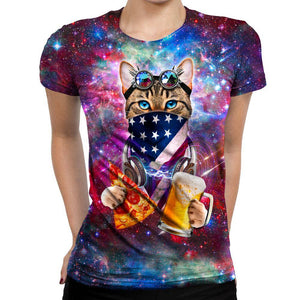 Rave Cat Womens T-Shirt