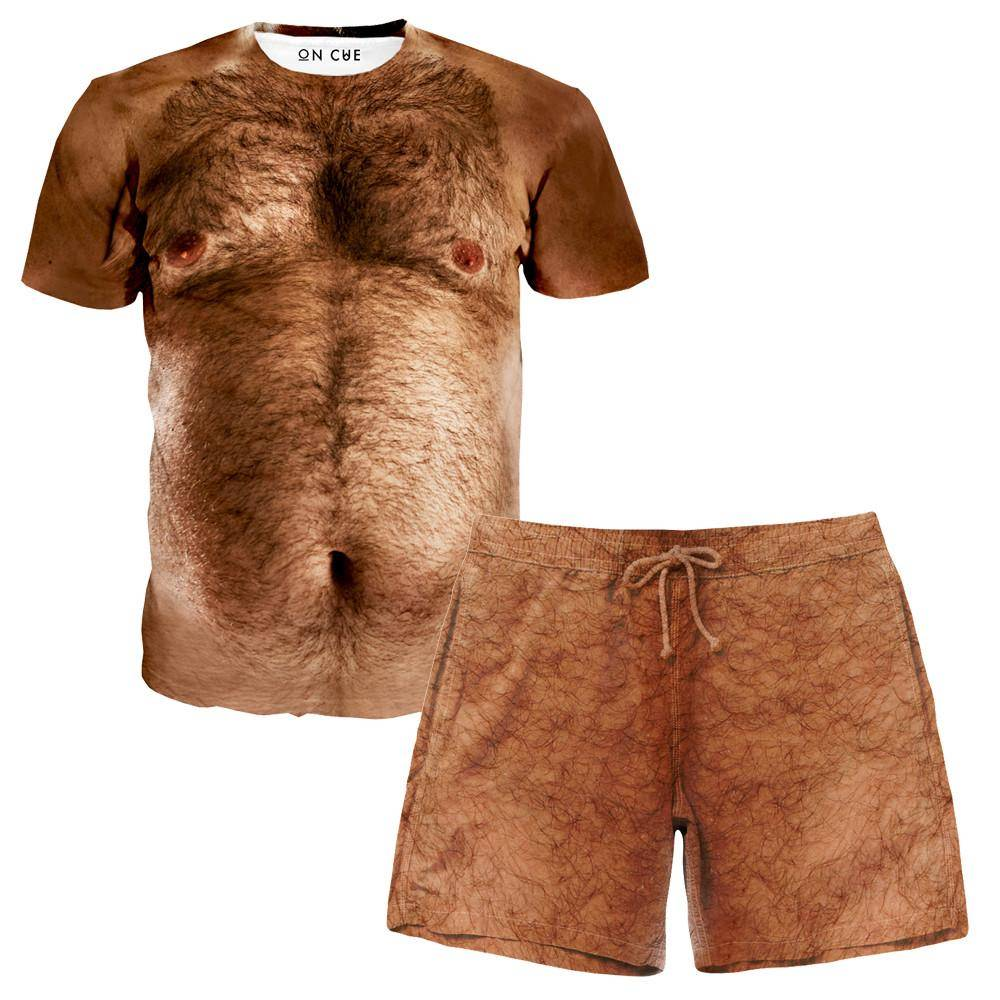 Hairy Chest T Shirt And Shorts Rave Outfit
