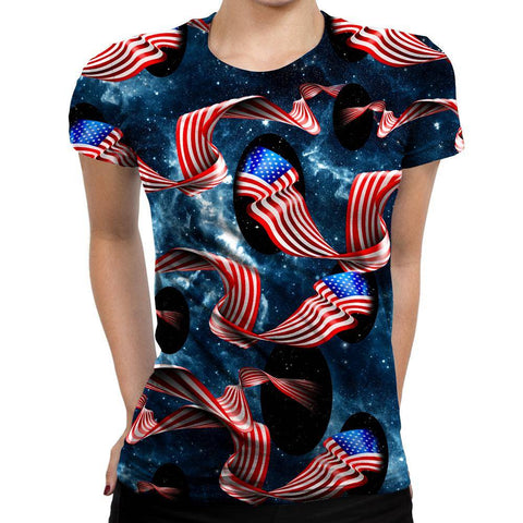 Image of Galactic Flag Womens T-Shirt