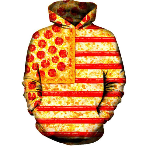 United States Flag Pizza Womens Hoodie