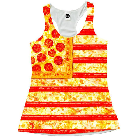 United States Flag Pizza Racerback