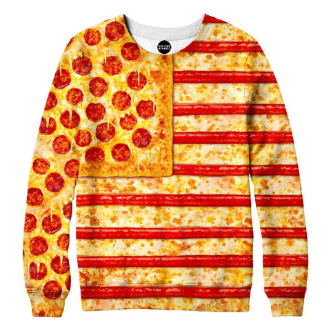 Image of United States Flag Pizza Womens Sweatshirt
