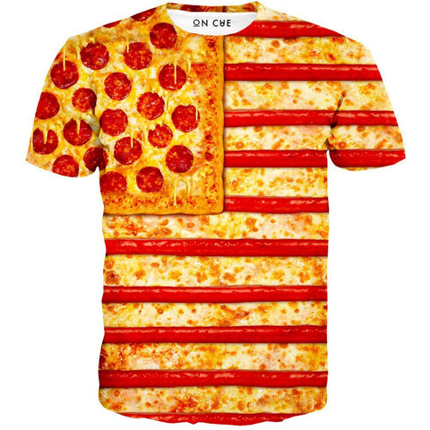 Image of United States Flag Pizza T-Shirt
