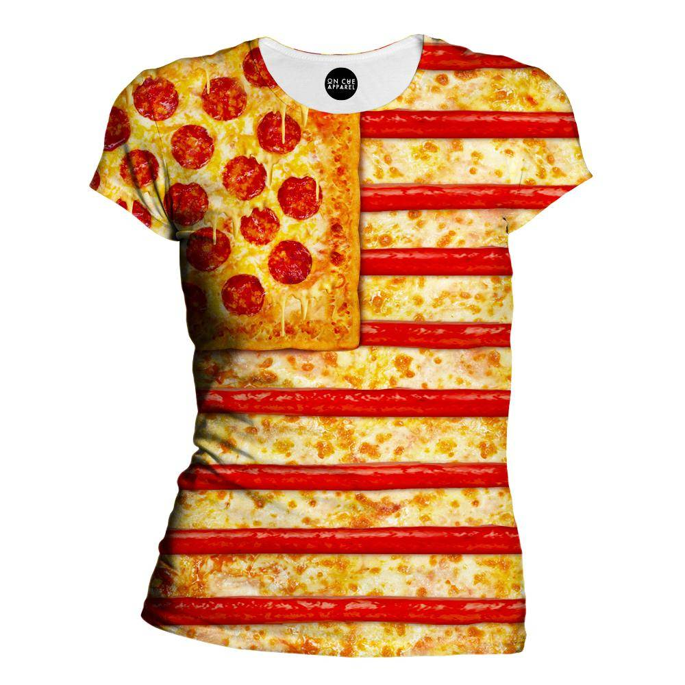 United States Flag Pizza Womens T-Shirt