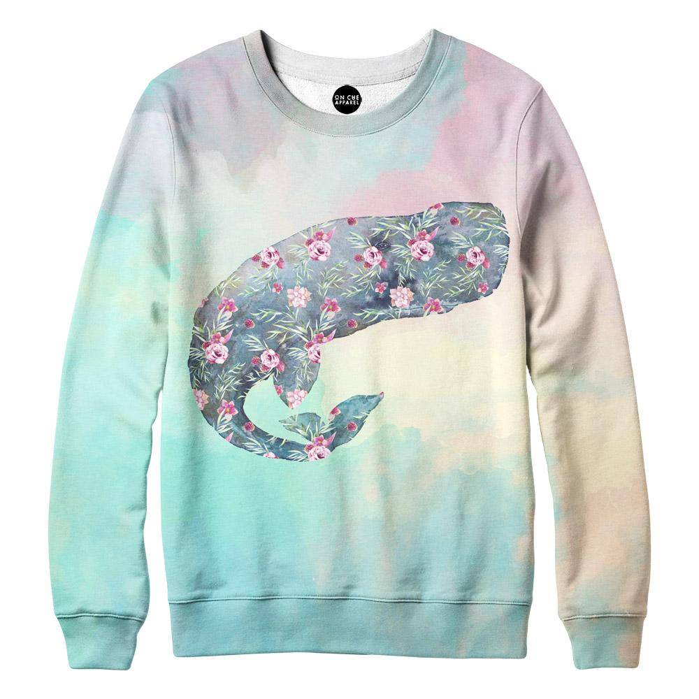 Flower Whale Womens Sweatshirt