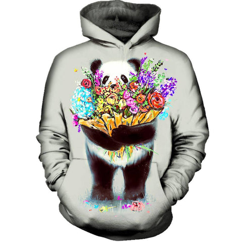 Image of Pandas Got Flowers For You Womens Hoodie