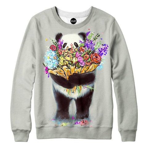 Pandas Got Flowers For You Womens Sweatshirt