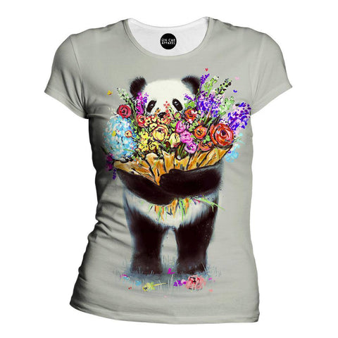 Image of Pandas Got Flowers For You Womens T-Shirt