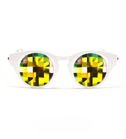 Image of GloFX White Cat Eye Kaleidoscope Glasses – Rainbow Bug Eye