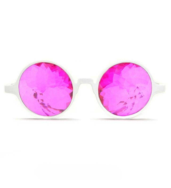 GloFX White Kaleidoscope Glasses- Magenta