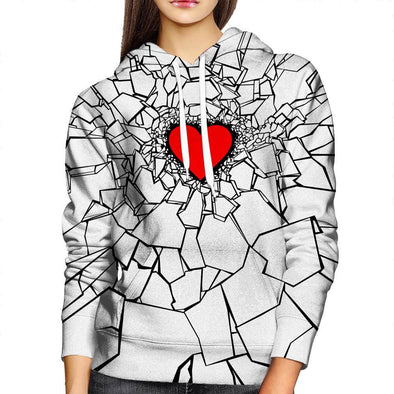 White Heartbreak Womens Hoodie