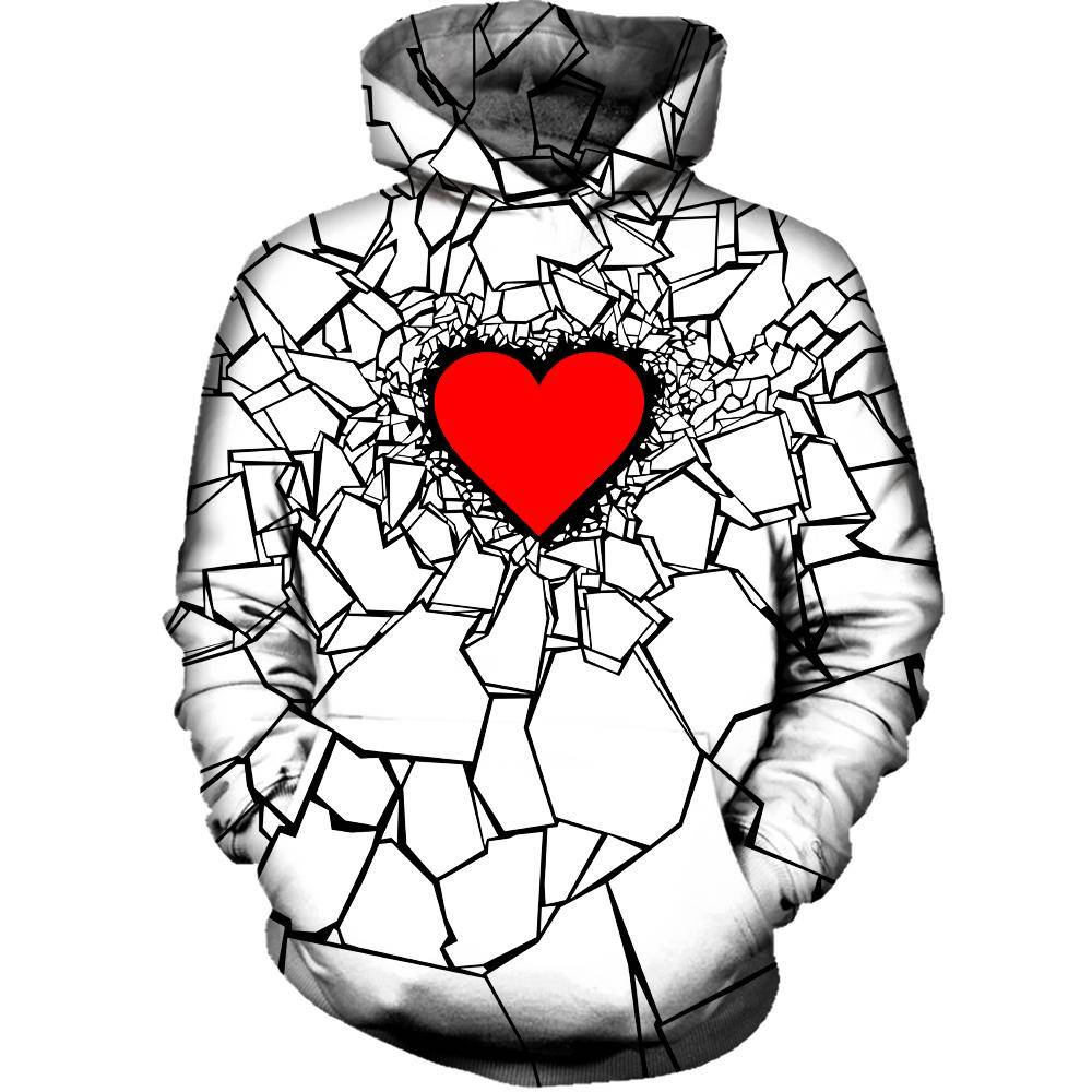 White Heart Break Hoodie