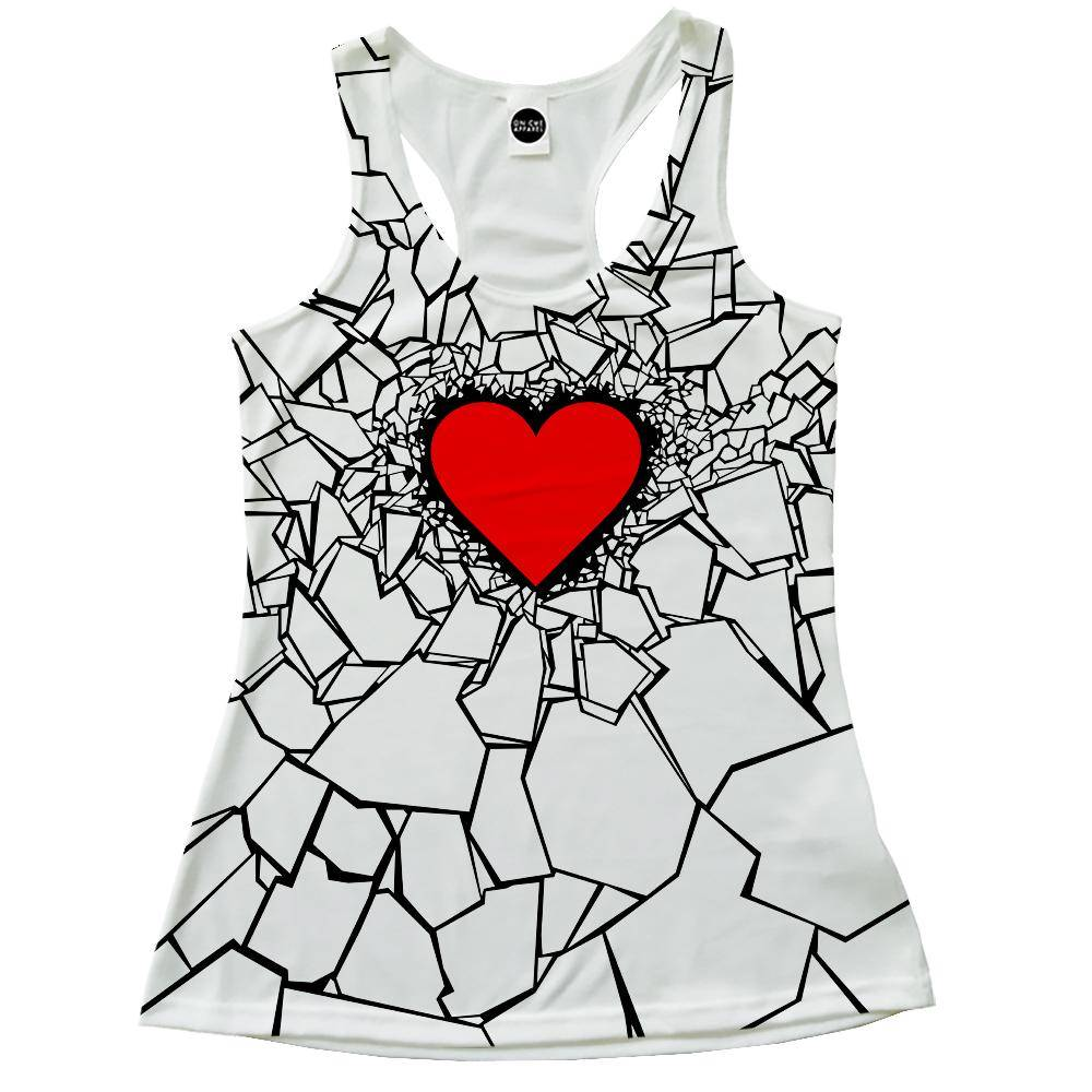 White Heart Break Racerback