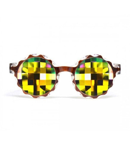 GloFX * Crown Amber Kaleidoscope Glasses – Rainbow Bug Eye – Flat Back
