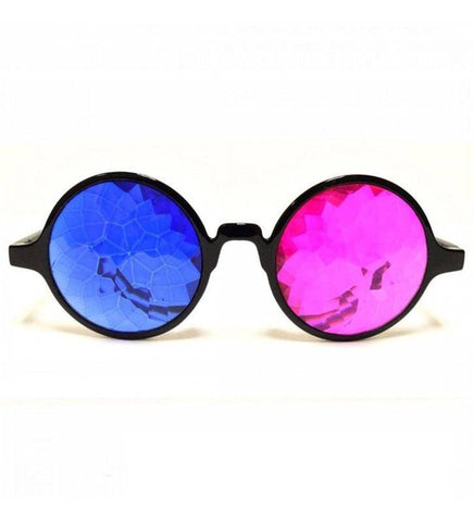 Image of GloFX 3D Black Kaleidoscope Glasses- Sapphire & Magenta
