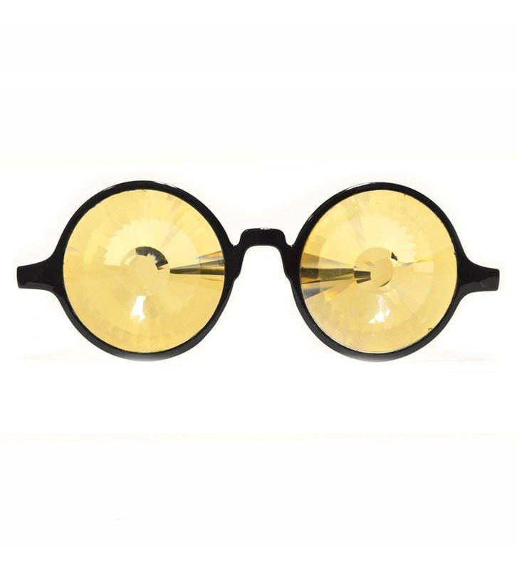 GloFX Black Kaleidoscope Glasses- Gold Wormhole