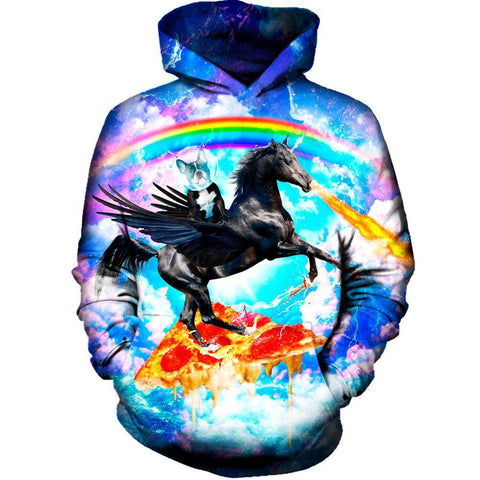 Image of Puppy Riding Pegasus Womens Hoodie