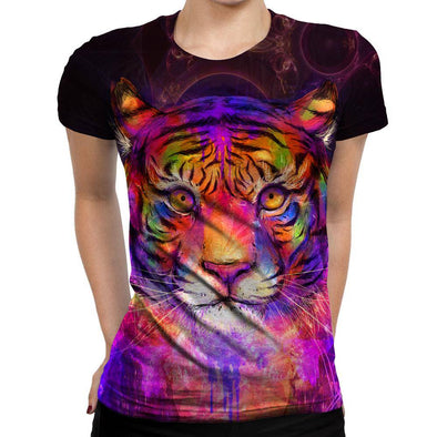 Psychedelic Tiger Womens T-Shirt