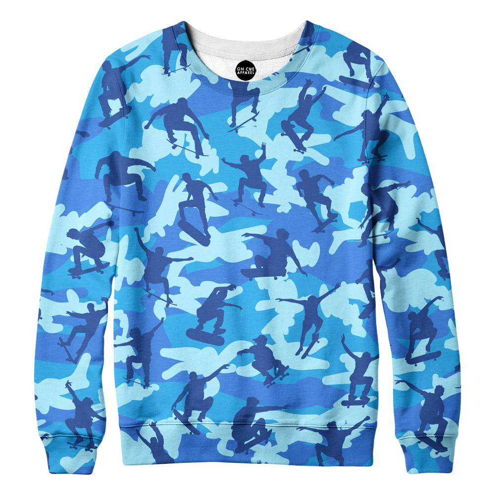 Skater Camo Blue Womens Sweatshirt