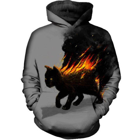 The Cat Is On Fire Womens Hoodie