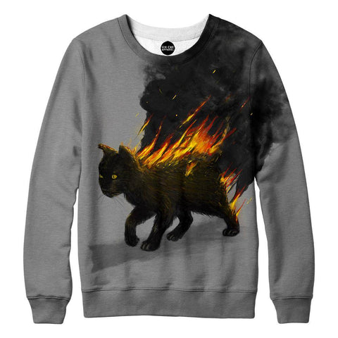 The Cat Is On Fire Womens Sweatshirt