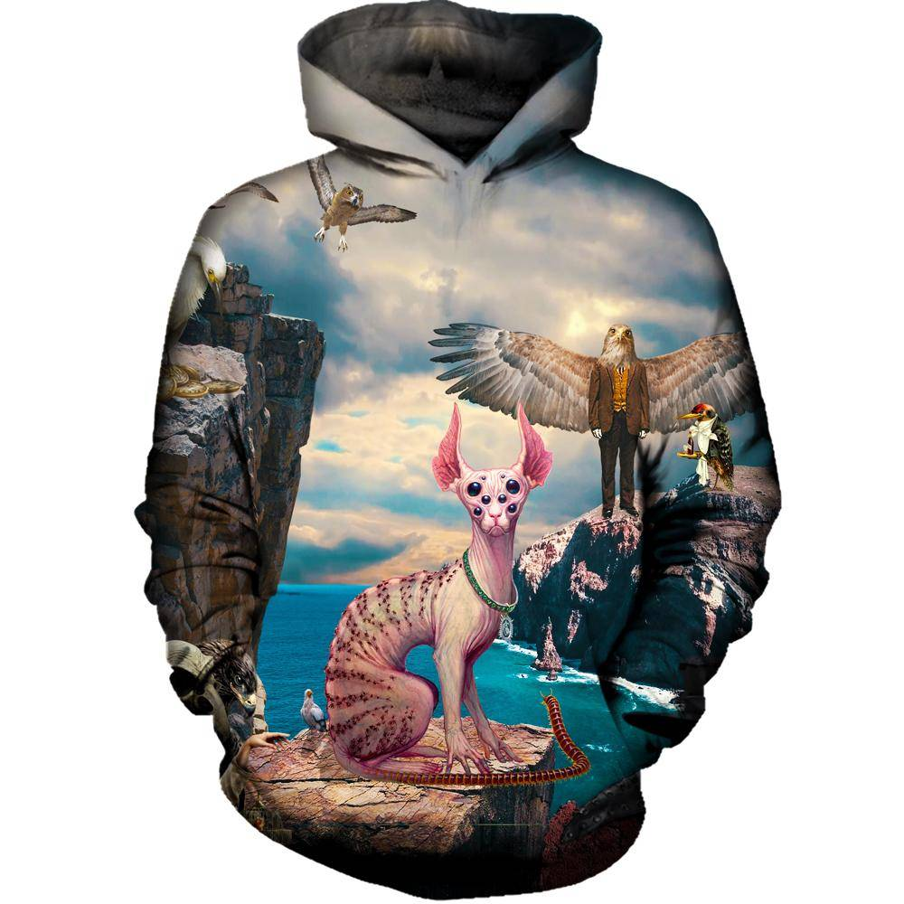 Birds With Cat Womens Hoodie