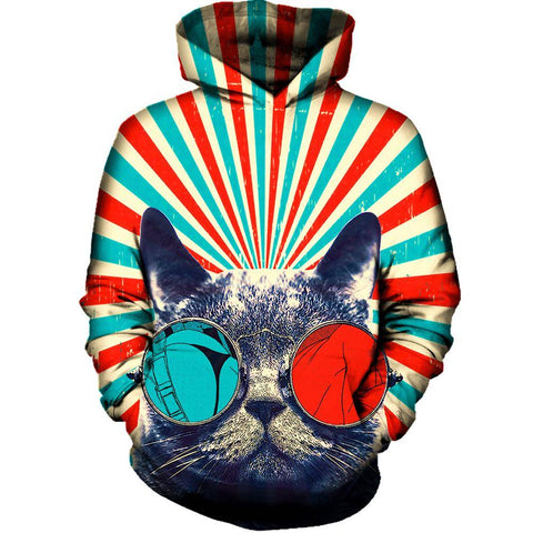Image of 3D Cat Womens Hoodie