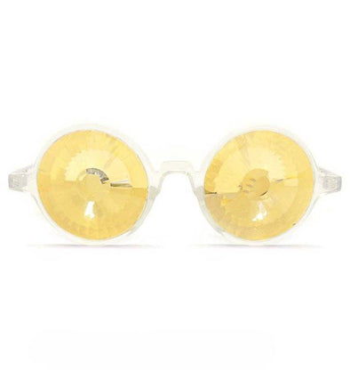 GloFX Clear Kaleidoscope Glasses- Gold Wormhole