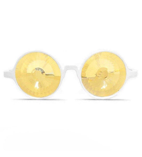 GloFX White Kaleidoscope Glasses- Gold Wormhole