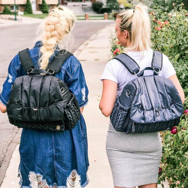 Real Mama Style with the Levy Backpack style diaper bag in black herringbone
