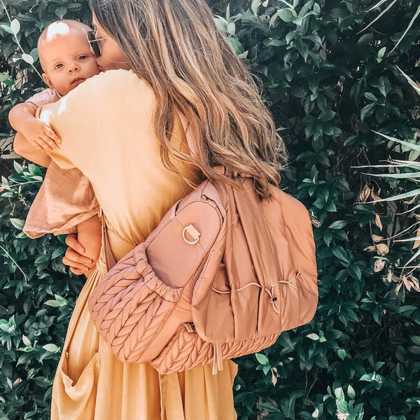 Real Mama Style with the Levy Backpack style diaper bag in dusty rose