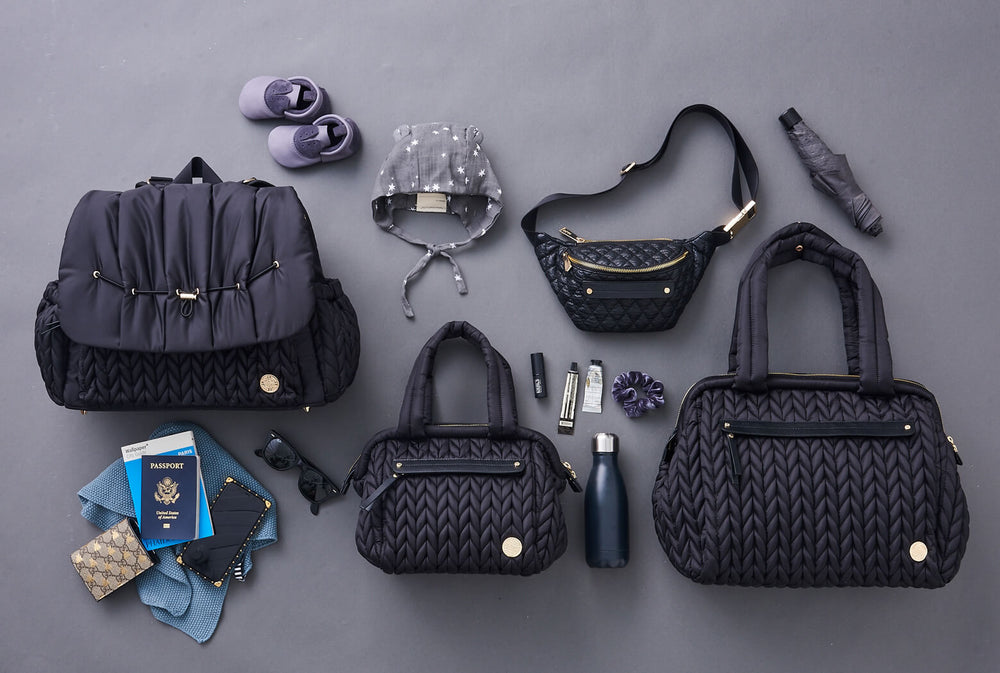 The Black on Black Collection: the HAPP diaper bag line in classic black herringbone nylon