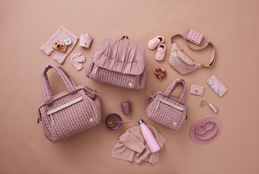 The Dusty Rose Collection: the HAPP diaper bag line in soft, feminine, neutral blush pink herringbone nylon