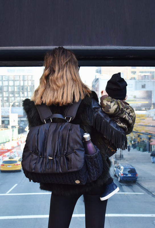 TinaMarie Clark wearing the Levy Backpack diaper bag in Classic Black