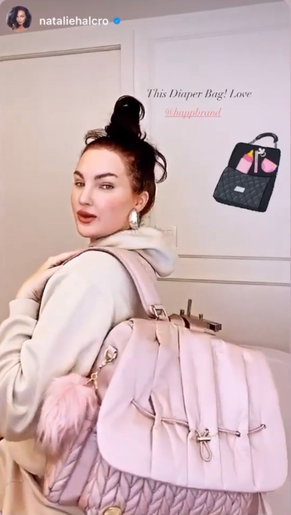 Natalie Halcro with her pink diaper backpack by HAPP Brand